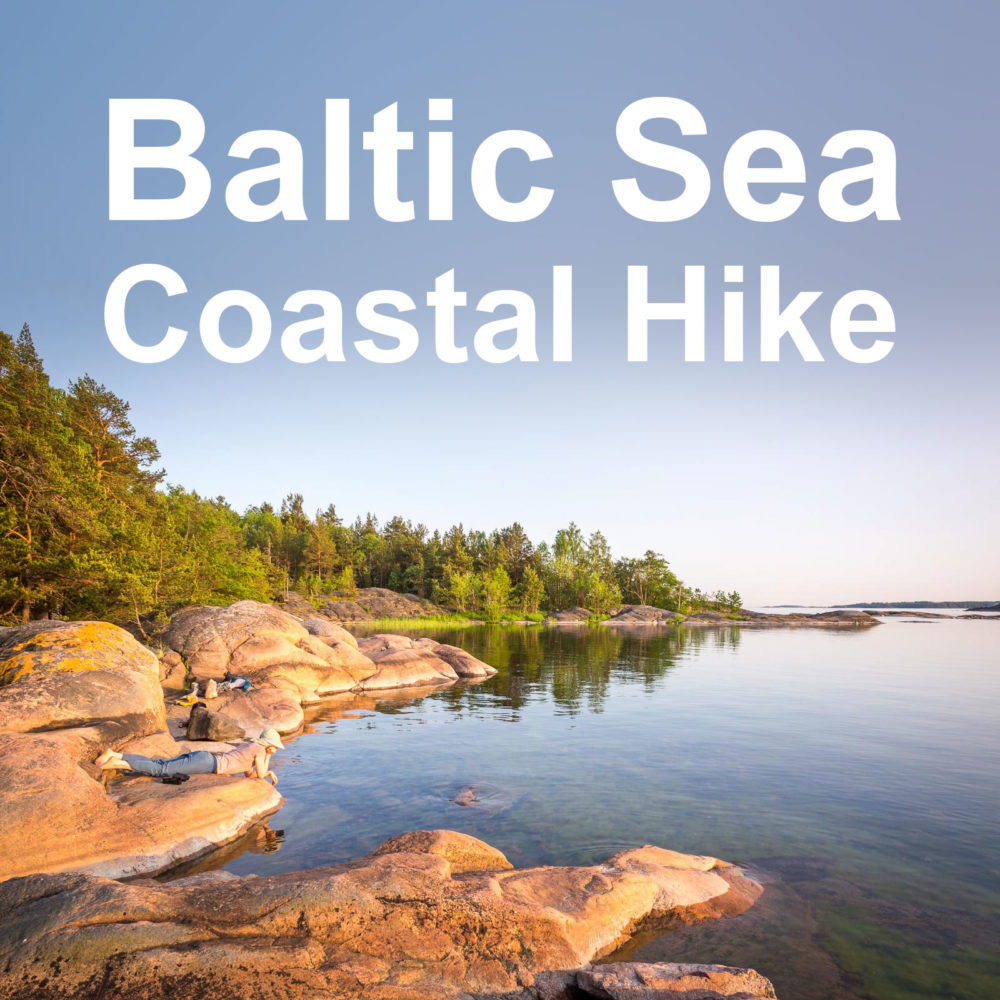 Guided hiking tour on the Baltic Sea coast near Helsinki, Finland.