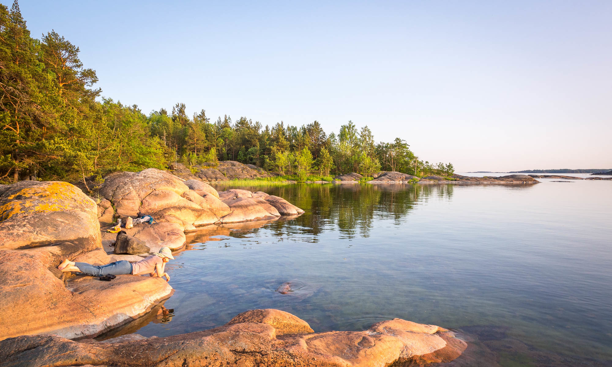 Finland's coast near Helsinki in summer, in June. Peace and quiet in nature on the Finnish coast. Nature in Finland, Helsinki.