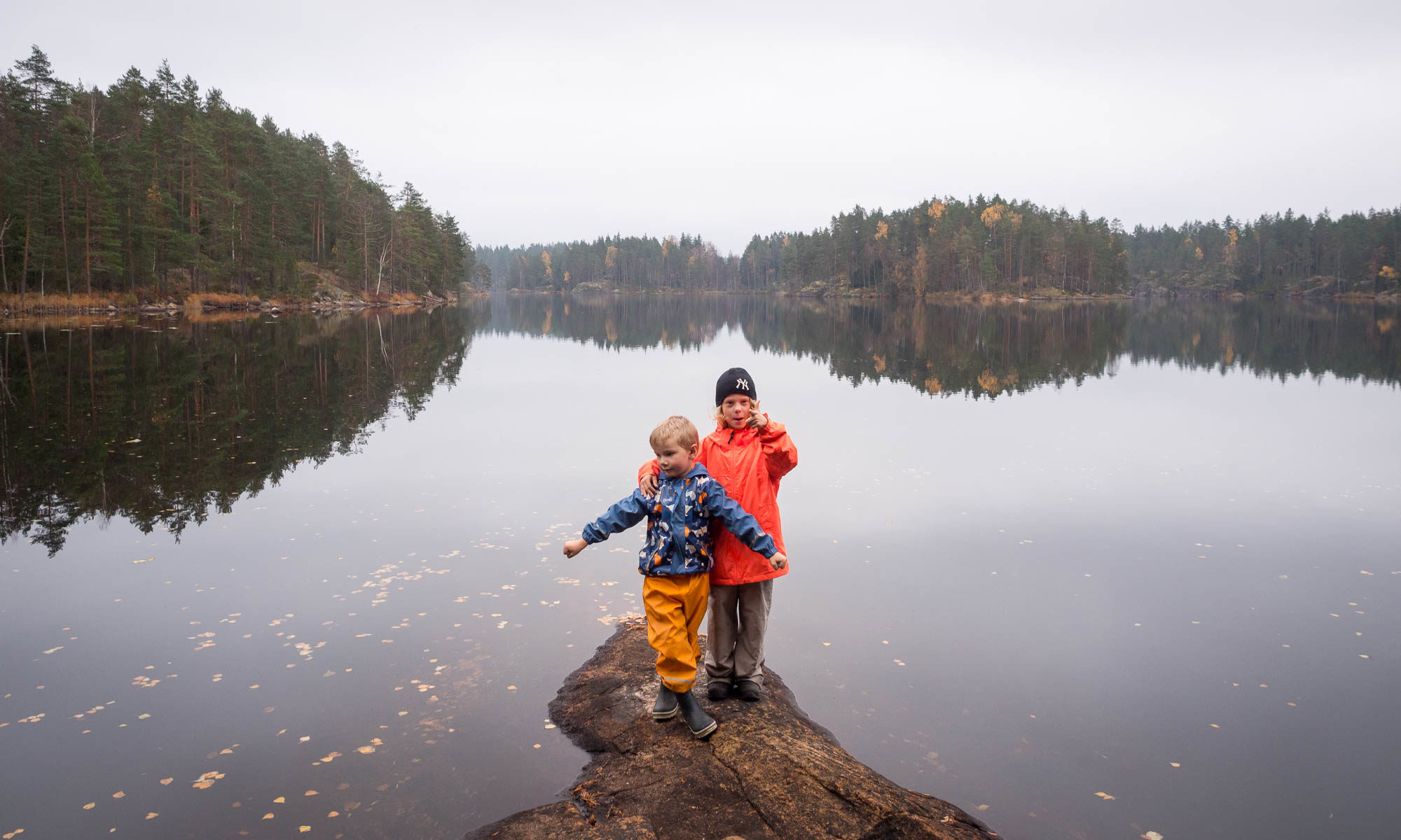 Nuuksio National Park in fall, in October. Hiking with children. Finnish nature near Helsinki, Finland.