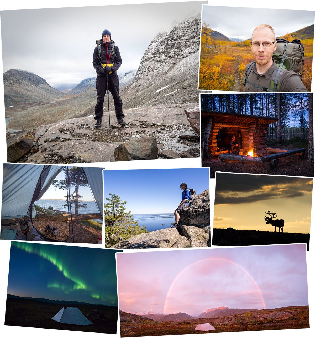 Adventures and hiking in nature, from Southern Finland to Lapland, in national parks and in wilderness. Finland, Sweden, Norway. Part 1 of 2.