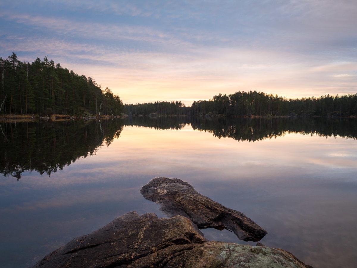 Nuuksio National Park in fall. Peaceful November morning in Finnish nature. Nature near Helsinki, Finland.
