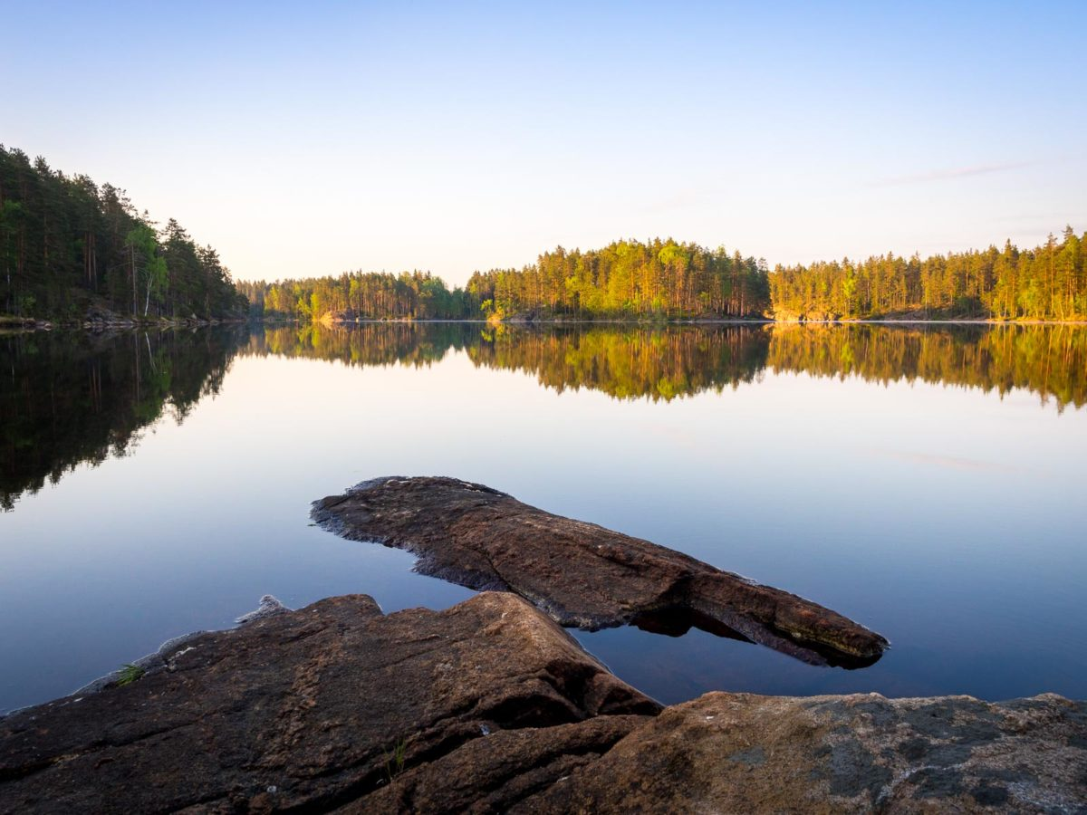 Nuuksio National Park in spring, in May. The best time of spring at the national parks lakes. Finnish nature near Helsinki, Finland.