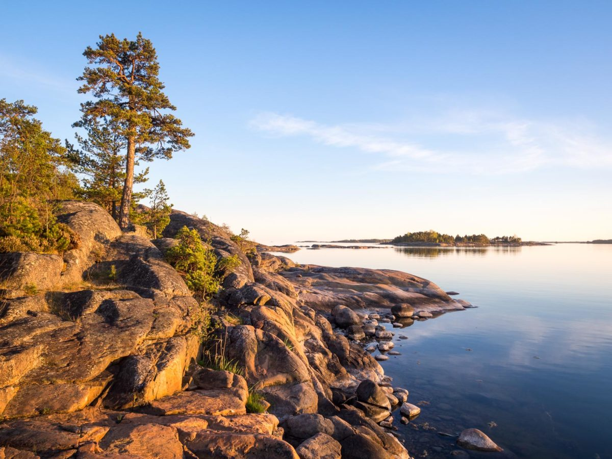 Coast of Baltic Sea around Helsinki in spring, in May. Best place to feel the archipelago atmosphere. Finnish nature near Helsinki, Finland.