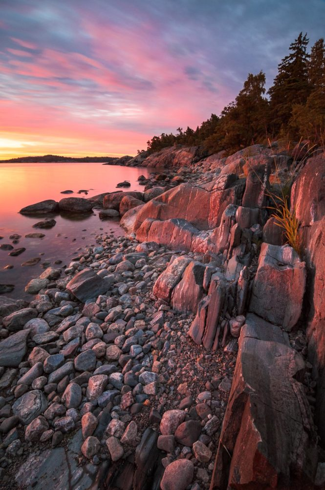 Finland's coast near Helsinki in summer, in July. Best sunset location in Porkkalanniemi. Nature in Finland, Helsinki.