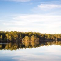 Nuuksio National Park in spring. Beautiful and calm moment at sunset in May. Nature near Helsinki, Finland.