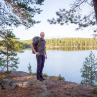 Nuuksio National Park in summer. Beautiful weather and quiet trails. Nature near Helsinki, Finland.