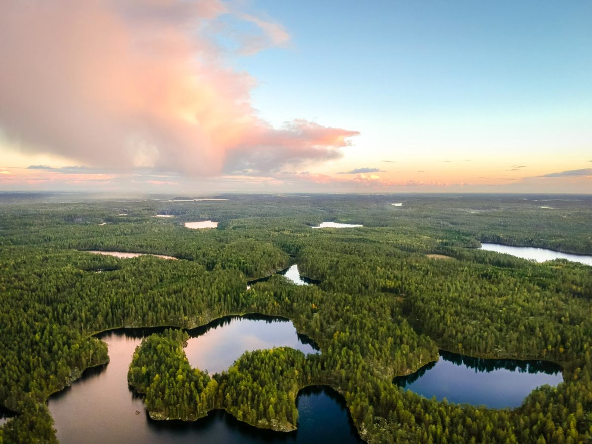 Nuuksio National Park in summer in September. Aerial photo of forest and lakes. Nature near Helsinki, Finland.