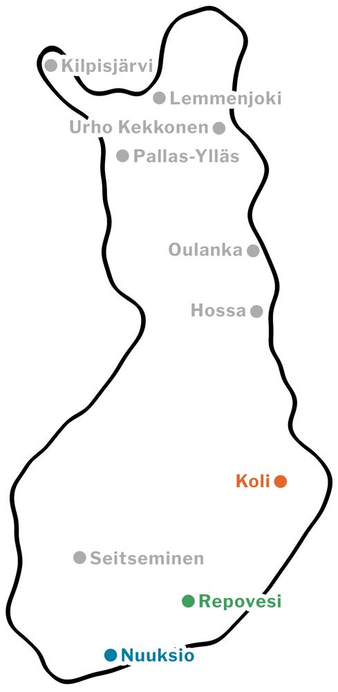 Vaellusmatkojen kohteet, Suomen kansallispuistot ja erämaat